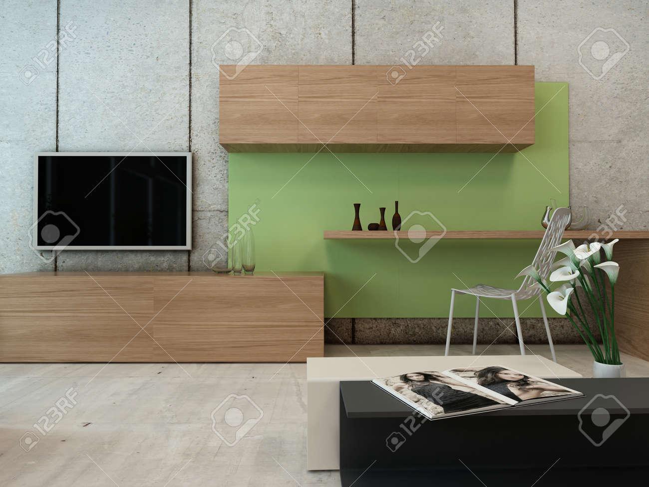 Vivre Interieur De La Chambre Avec Tv Rack Et Armoire Murale En Bois