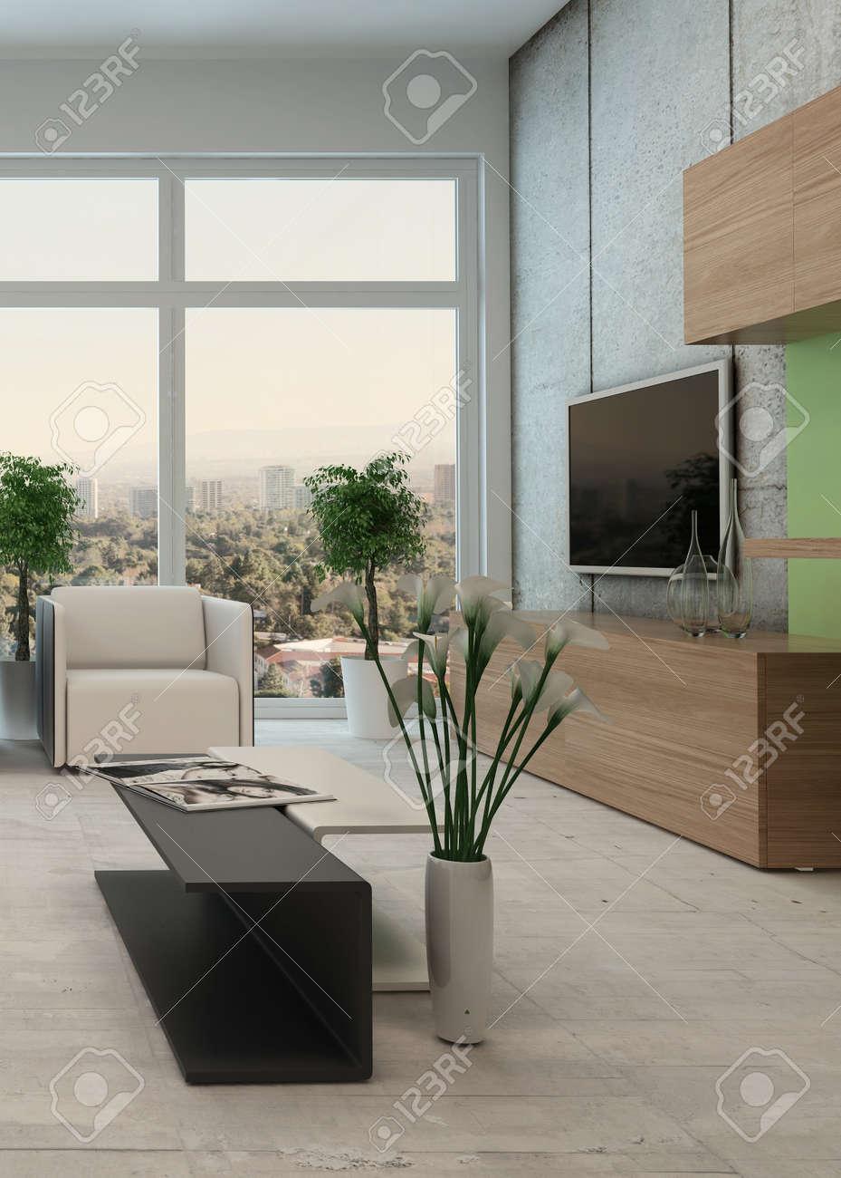 Licht, Fris Modern Appartement Woonkamer Interieur Met Een Vloer ...