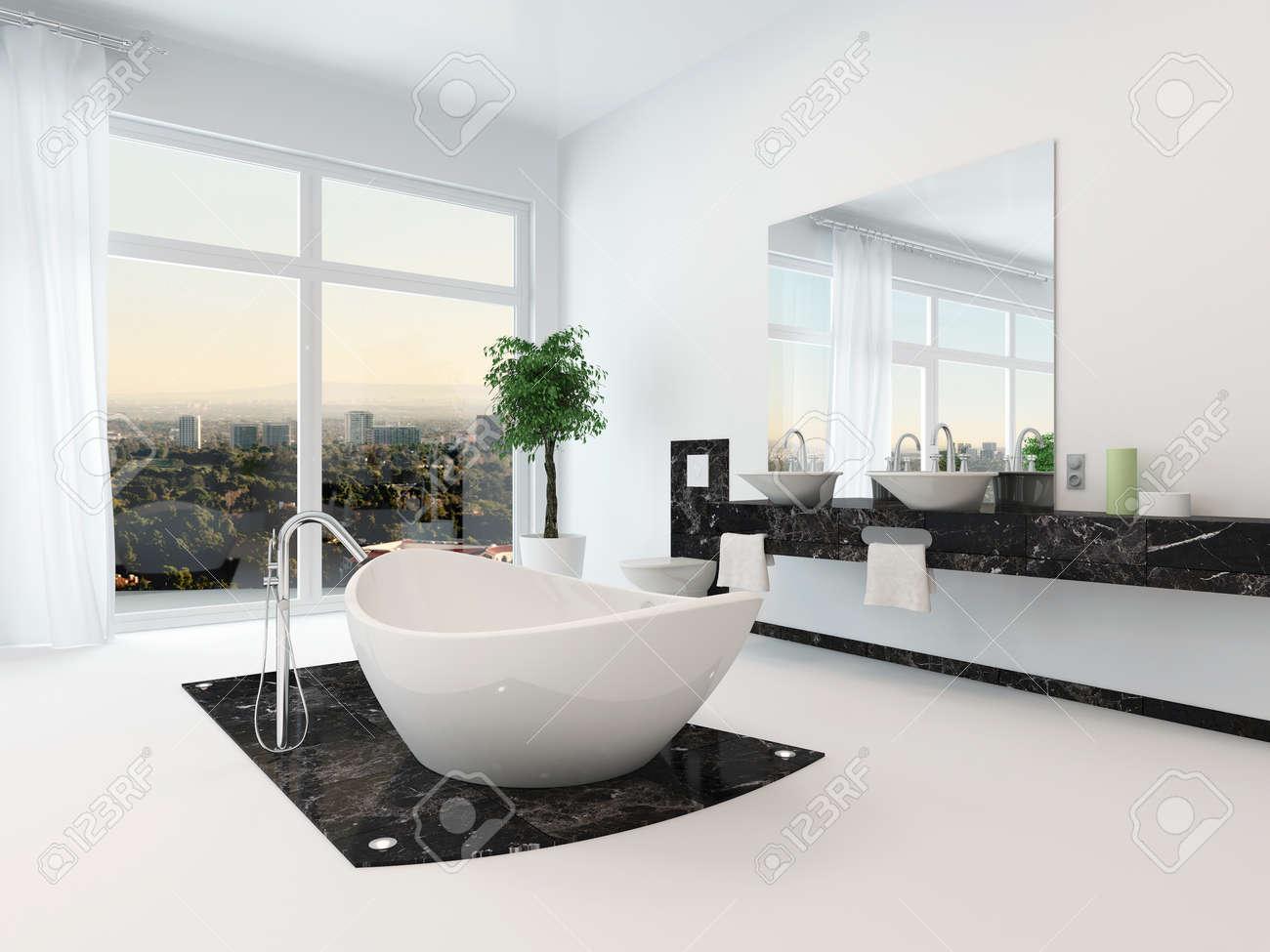 Intérieur de salle de bains de luxe avec une belle baignoire sur pieds blanc