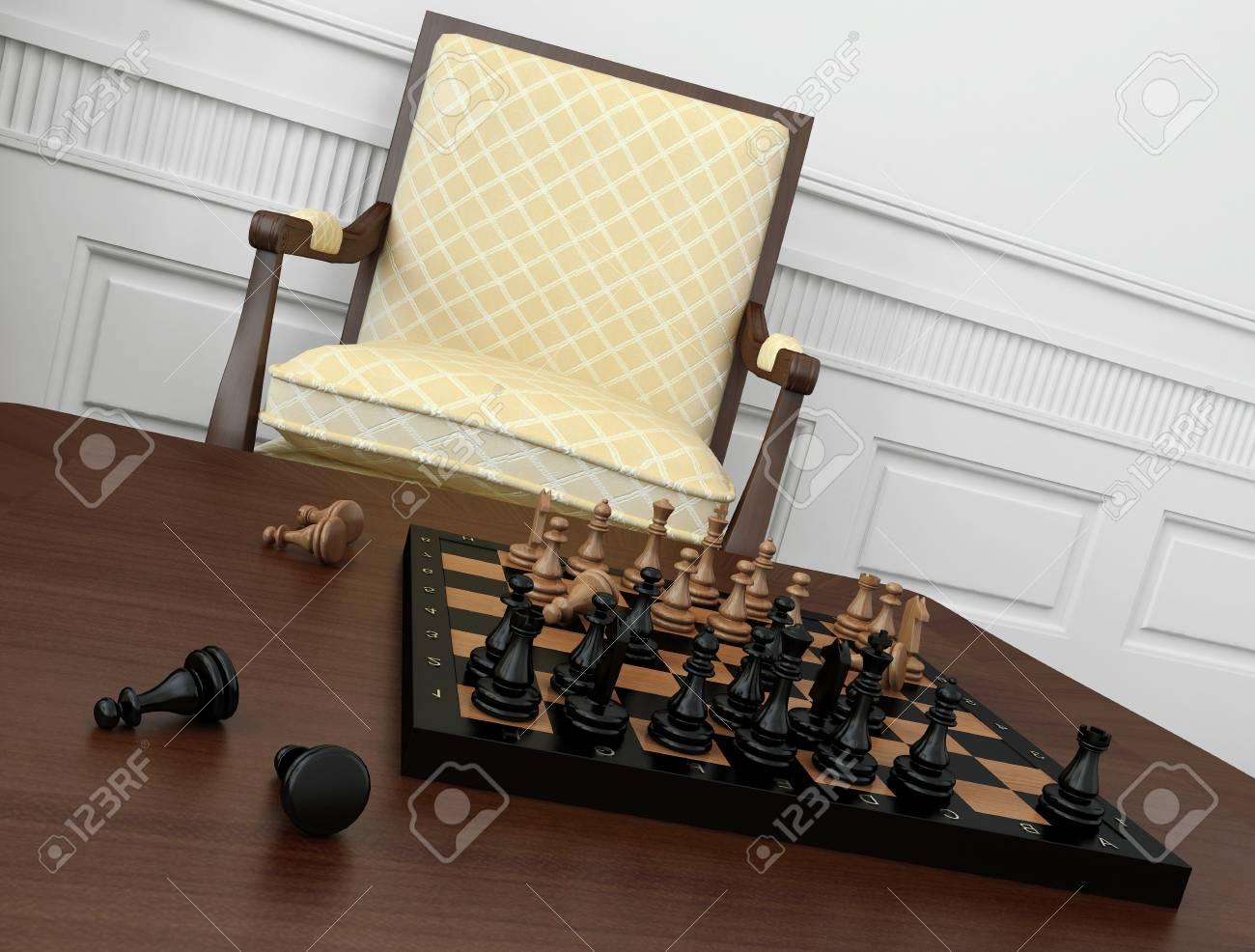 Stupendous Close Up Of Vintage Chess Game On Coffee Table With Chair In Ncnpc Chair Design For Home Ncnpcorg