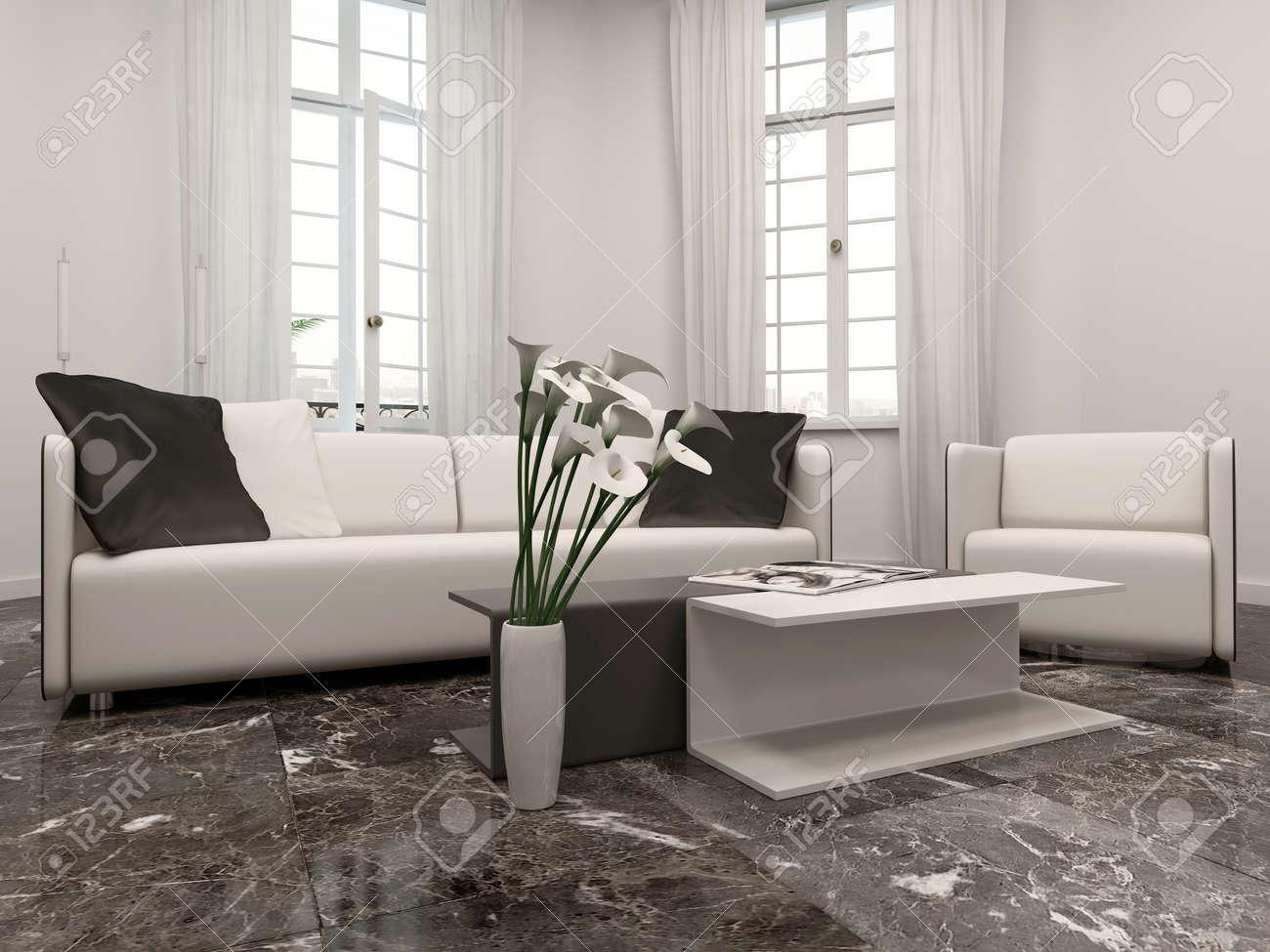 Witte woonkamer interiow met erker, bank en zwarte marmeren vloer ...