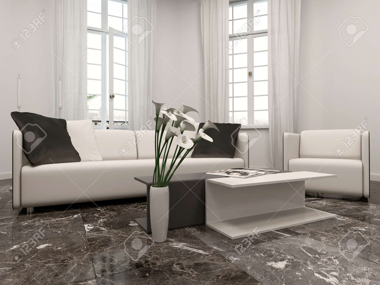 . White living room interiow with bay window  couch and black marble