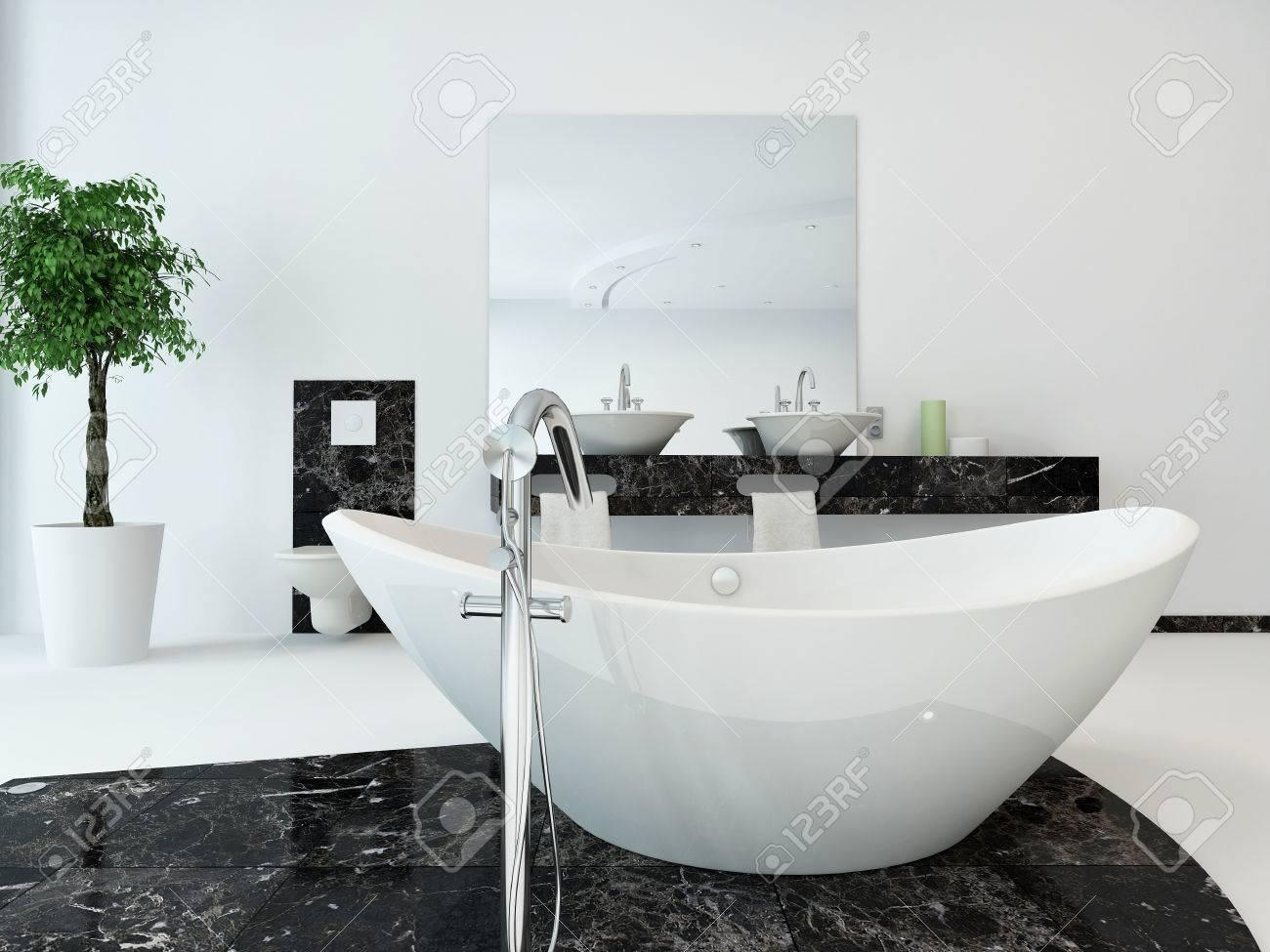 Luxury Bathroom Interior With Nice White Freestanding Bathtub Stock ...