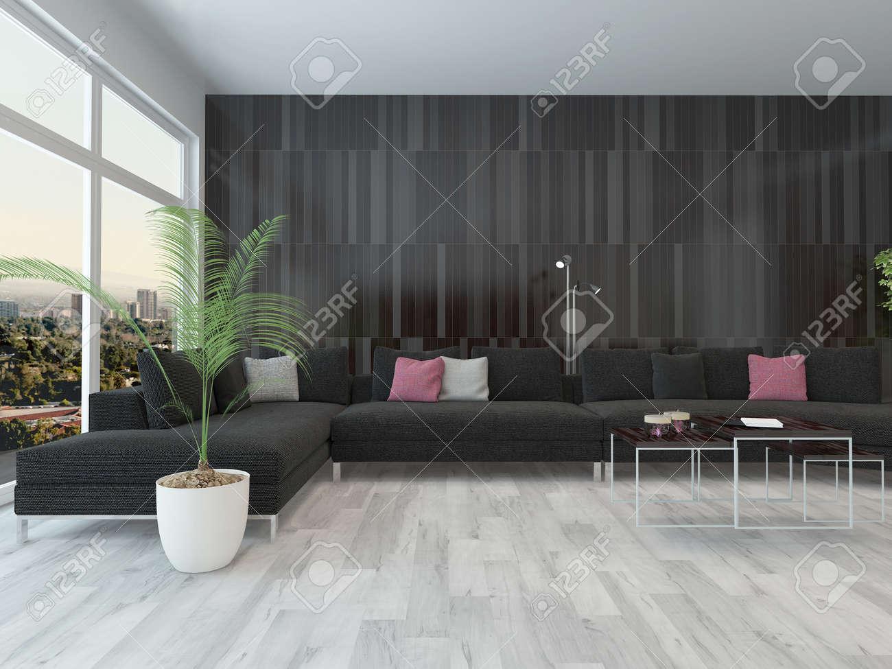 Woonkamer interieur met zwarte bank, salontafel en donkere houten ...