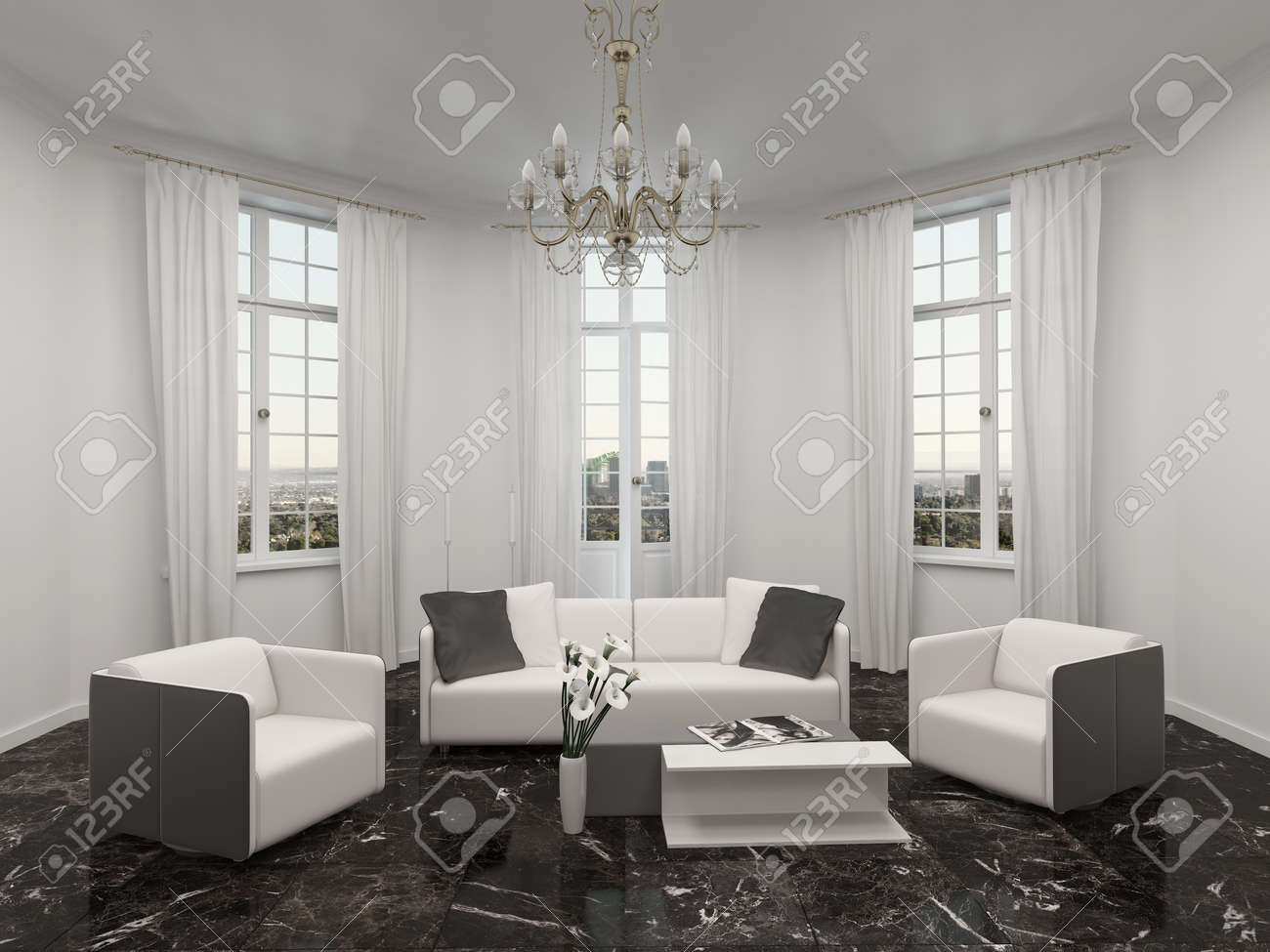 Luxury Living Room Interior With Bay Window, Chandelier And White ...
