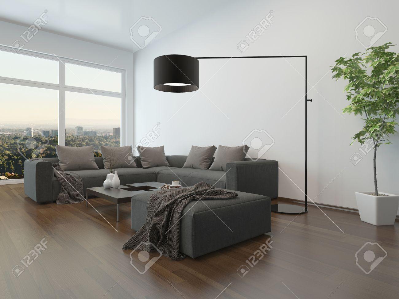 De Chambre Intérieur GrisTable Basse La Et Avec Lampe Un Vivre Canapé Sol BerCxoWdEQ
