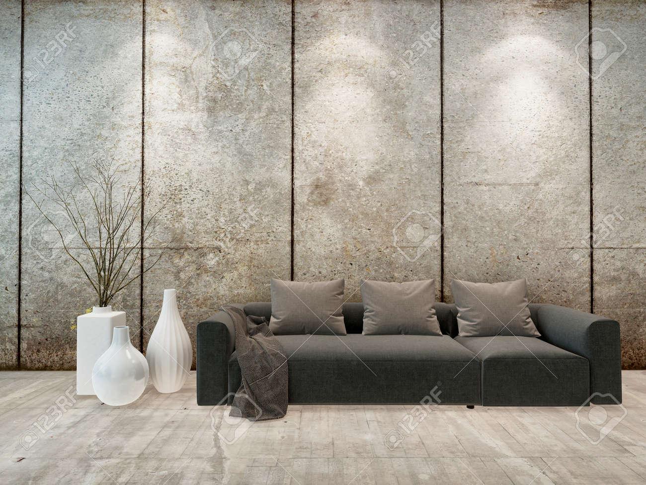 Moderne minimalistische interieur mit wohnzimmer unten lichter auf