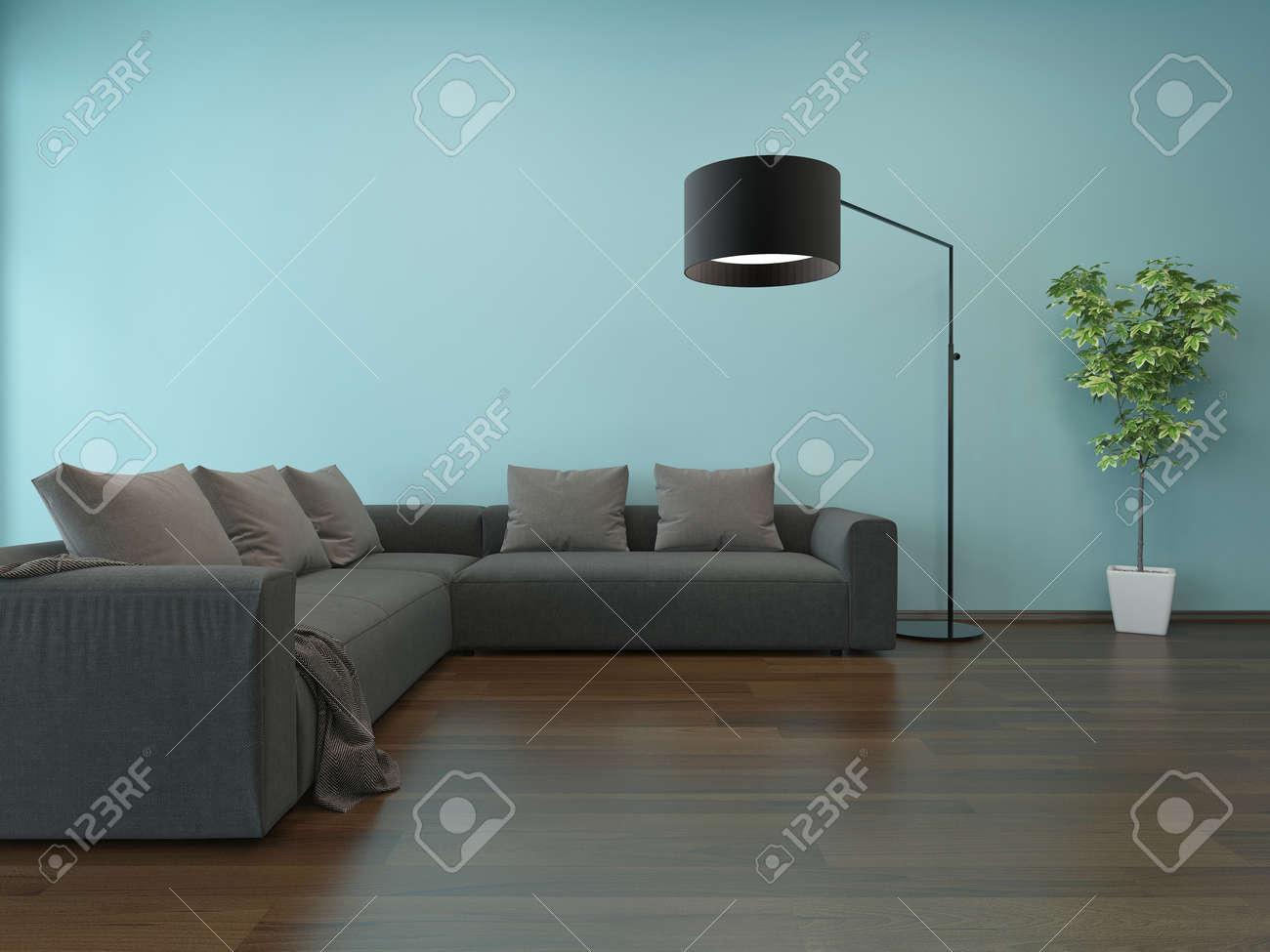 Vivre intérieur de la chambre avec le mur bleu, canapé gris et ...
