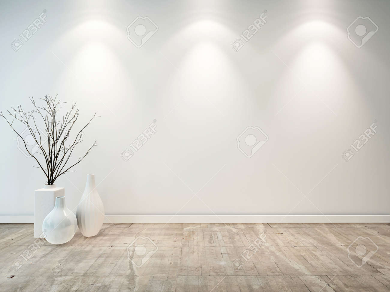 Empty neutral grey room with ornamental white vases and three down lights illuminating the wall, good architectural background for furniture placement - 28687313