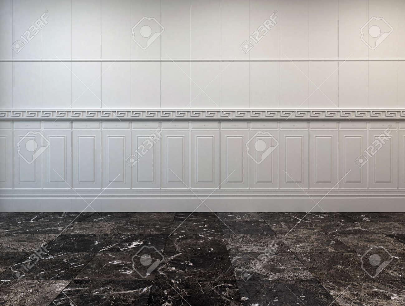Pavimento Bianco E Grigio : Vuoto interiore camera con un grigio scuro pavimento in marmo e