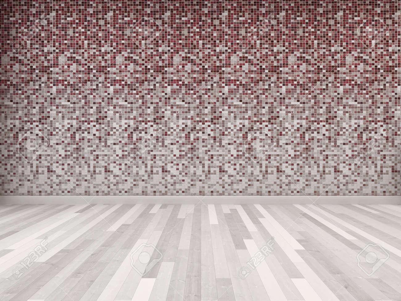 salle vide avec un sol en carrelage et parquet mur rouge et blanc dans les tons