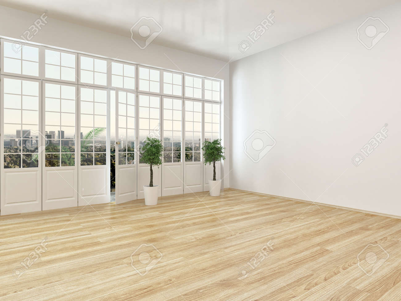 Great Empty Living Room Interior With Parquet Floor And A Large Panoramic View  Window With A Door