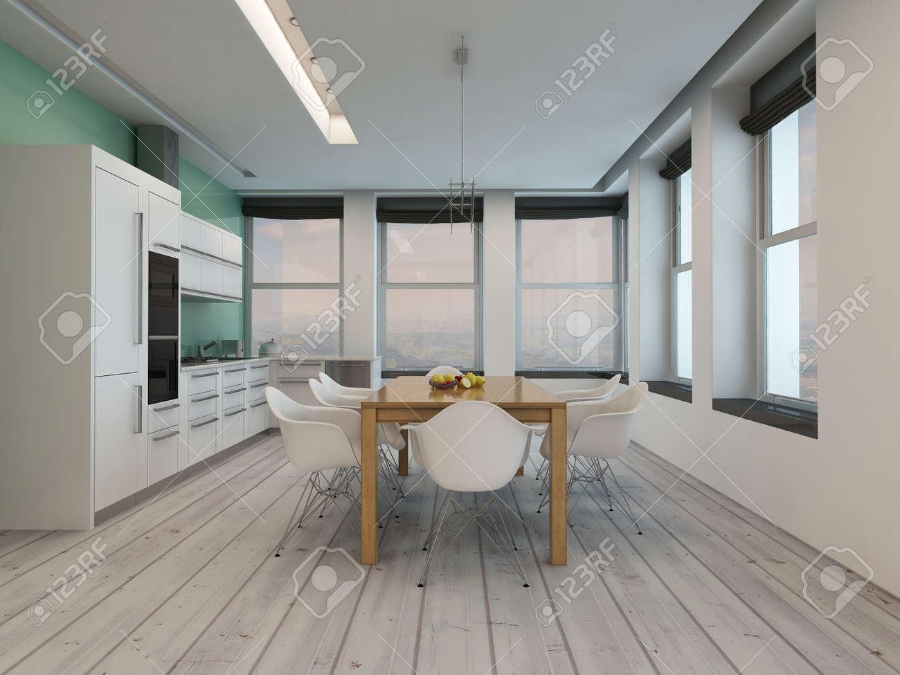 Moderna Cocina Comedor Habitación Interior Con Grandes Ventanas En ...