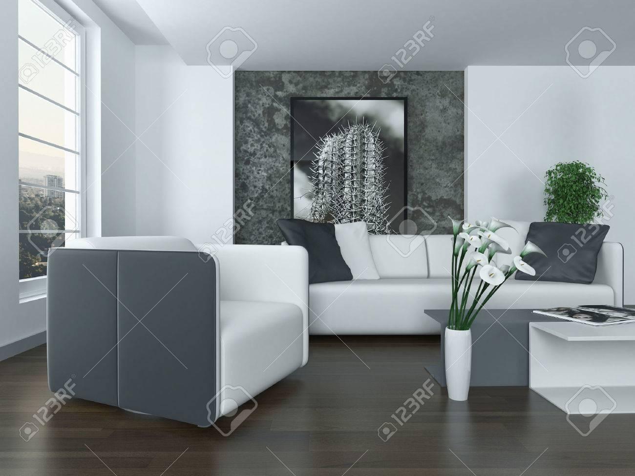 Moderne Grau Und Weiß Wohnzimmer Innenraum Mit Einem Bequemen ...