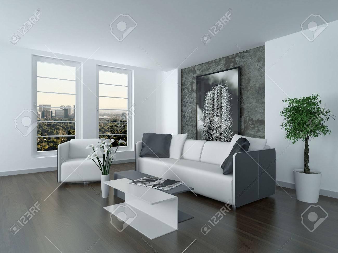 Moderne Grau Und Weiß Wohnzimmer Interieur Mit Einem Gemütlichen ...
