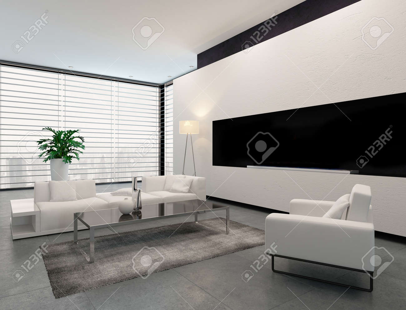Modern Living Room Interior In White, Grey And Black In Minimalist Style  With Closed Blinds
