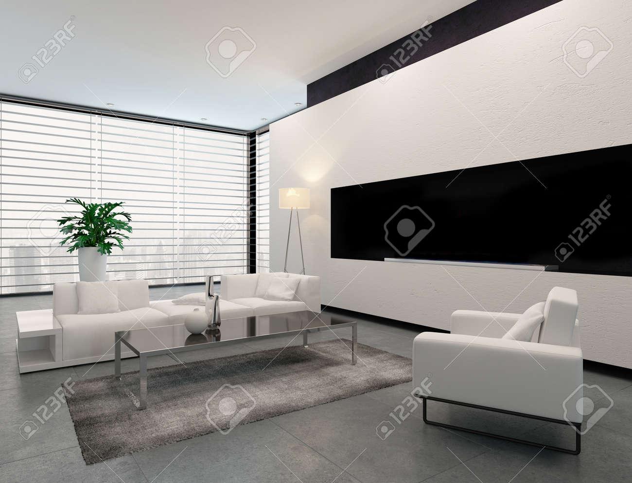 Schon Moderne Wohnzimmer Innenraum In Weiß, Grau Und Schwarz In Minimalistischen  Stil Mit Geschlossenen Jalousien Am