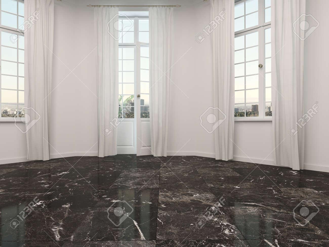 Rideau Sur Baie Vitrée chambre incurvée vide ou baie vitrée alcôve avec sol en marbre et  portes-fenêtres flanquée de deux fenêtres avec des rideaux longueur de  plancher