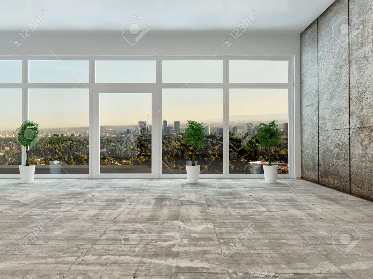 Empty Living Room Interior With Panoramic View Through A Floor