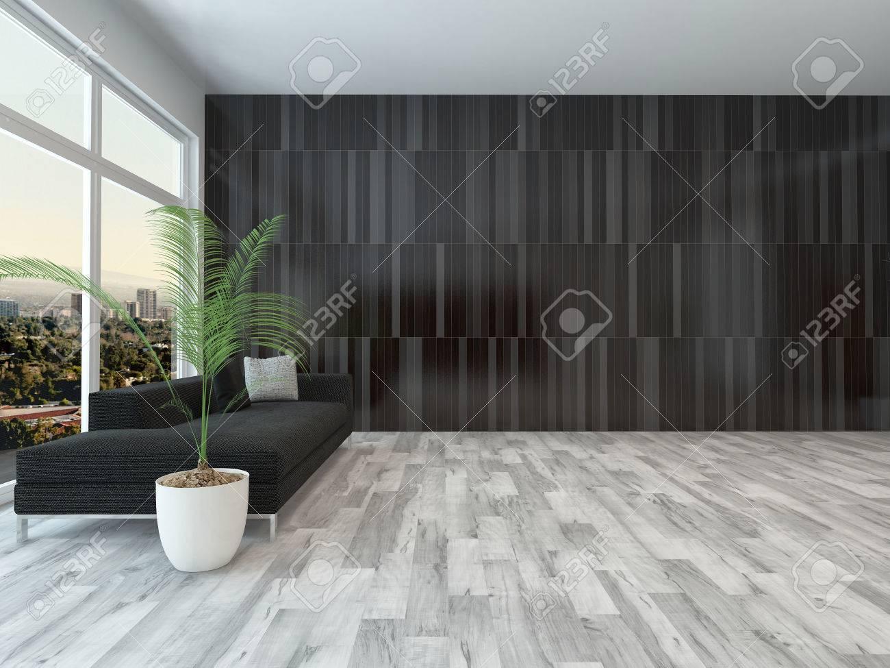 Immagini stock appartamento ampio soggiorno con finestra vista