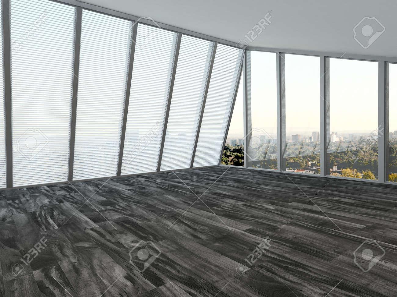Perfekt Leere Modernen Wohnzimmer Innenraum Mit Einem Deckenhohen Fenster Auf Zwei  Wände Mit Jalousien Und Einem Parkettboden