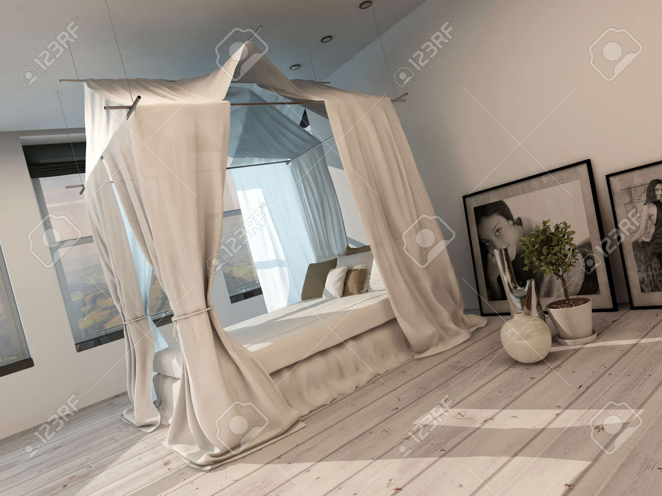 Stylish Minimalist Modern Bedroom Interior With A Four Poster Stock Photo Picture And Royalty Free Image Image 28688028