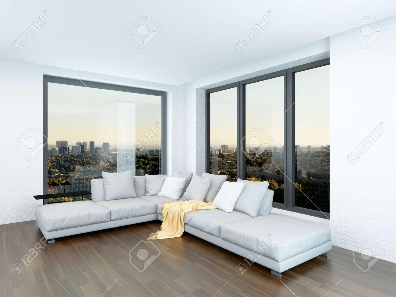 Moderne Minimalistische Wohnzimmer Innenraum Mit Einer Sitzecke Vor Zwei View Fenster Auf Blanken Parkett
