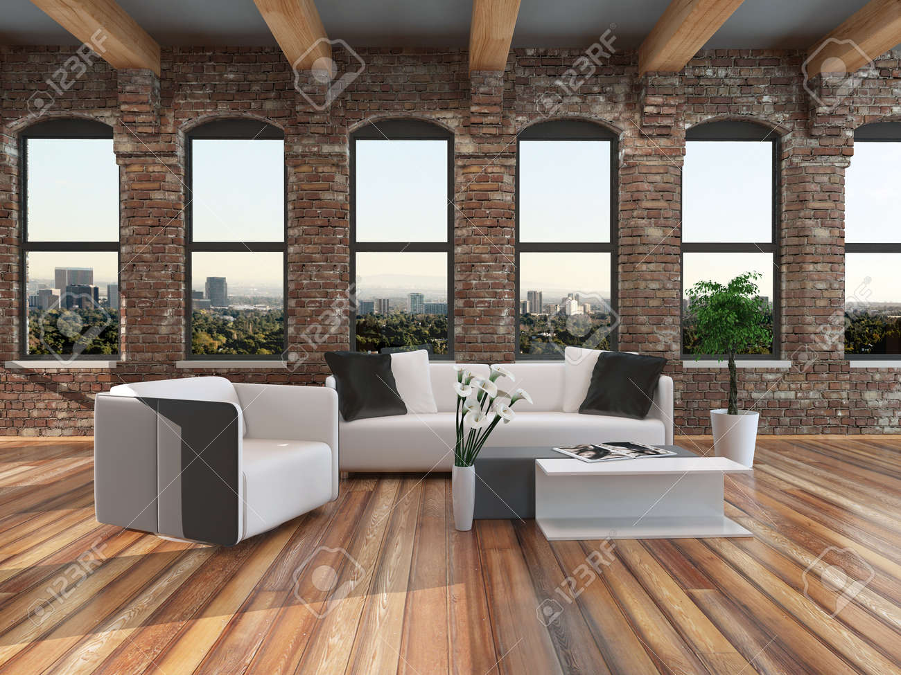 Moderne loft stijl woonkamer interieur met een parketvloer, balken ...