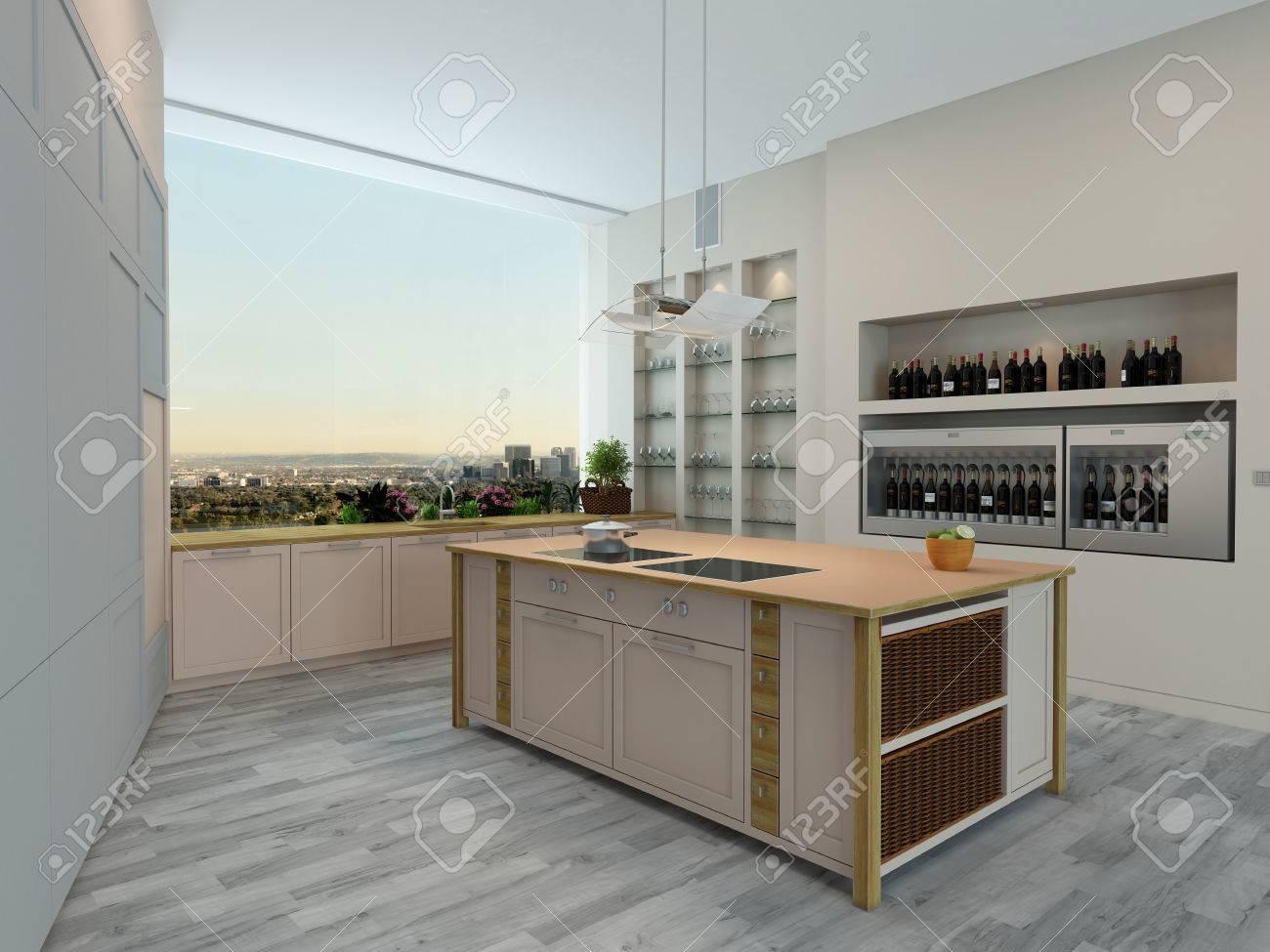 Intérieur appartement de cuisine moderne avec des unités murales ...