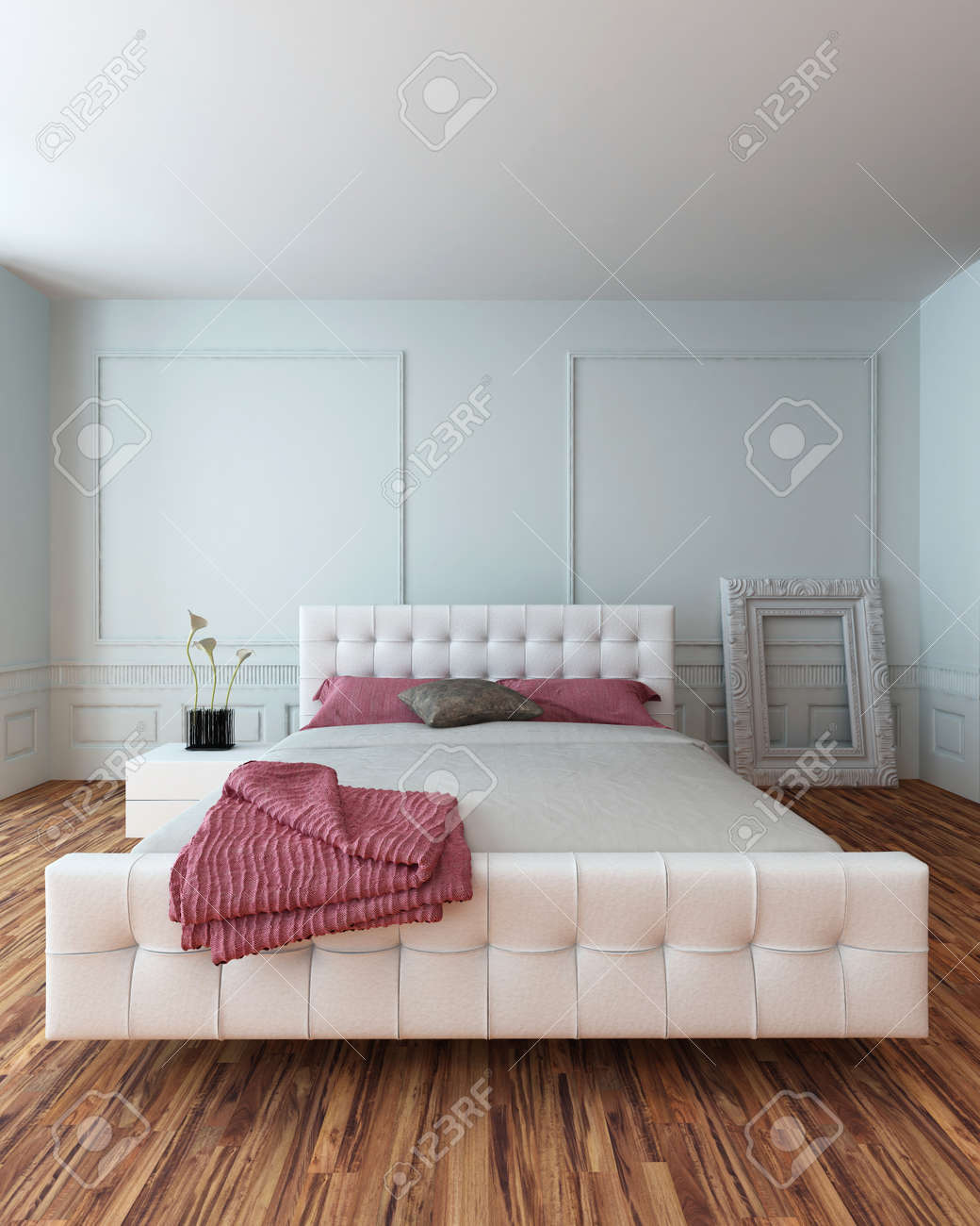 White Bedroom Suite. White leather upholstered bedroom suite in a modern white interior  with wooden parquet floor Leather Upholstered Bedroom Suite In A Modern