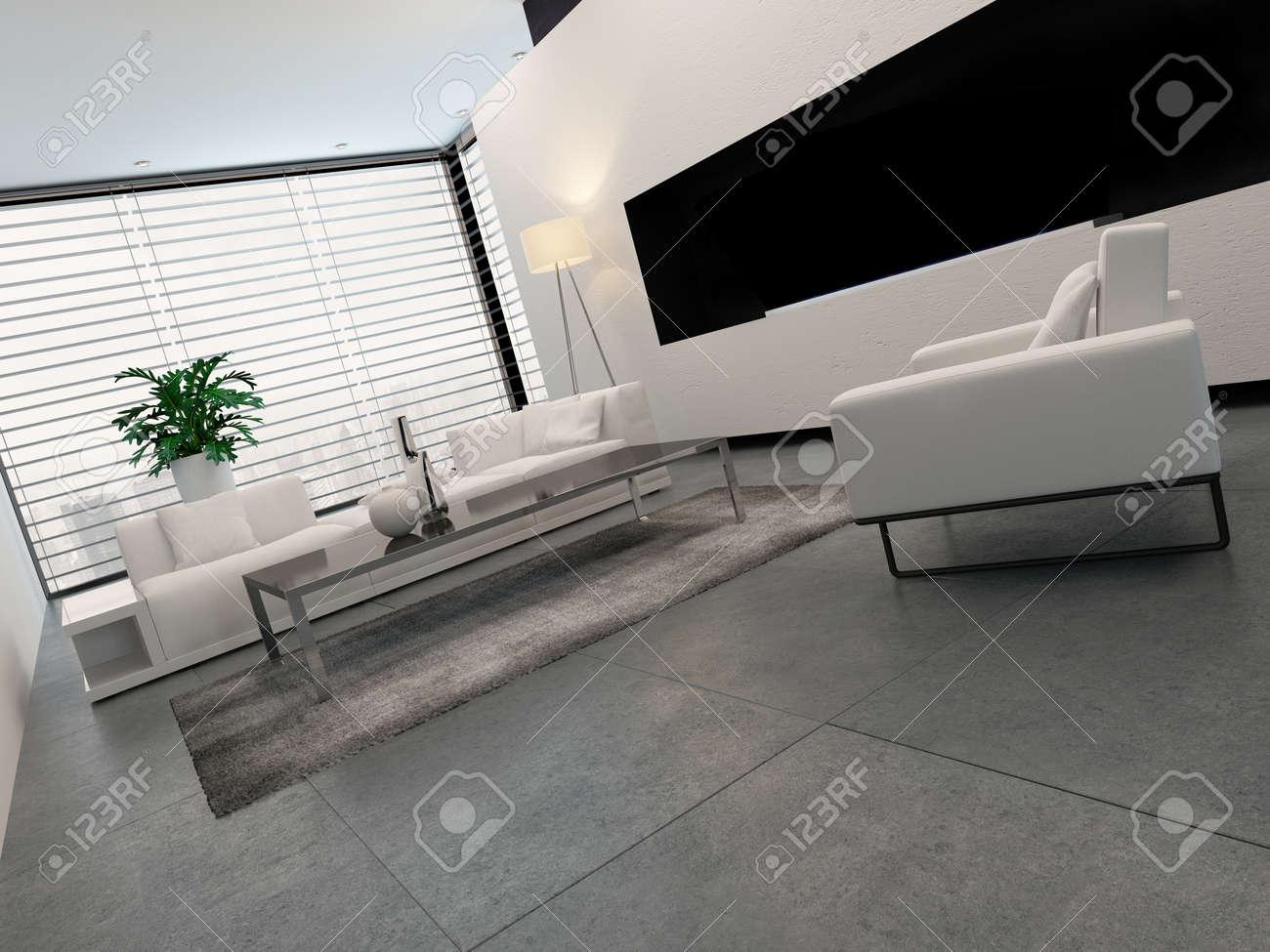 Moderne Wohnzimmer Innenraum In Weiß, Grau Und Schwarz In Minimalistischen  Stil Mit Geschlossenen Jalousien Am