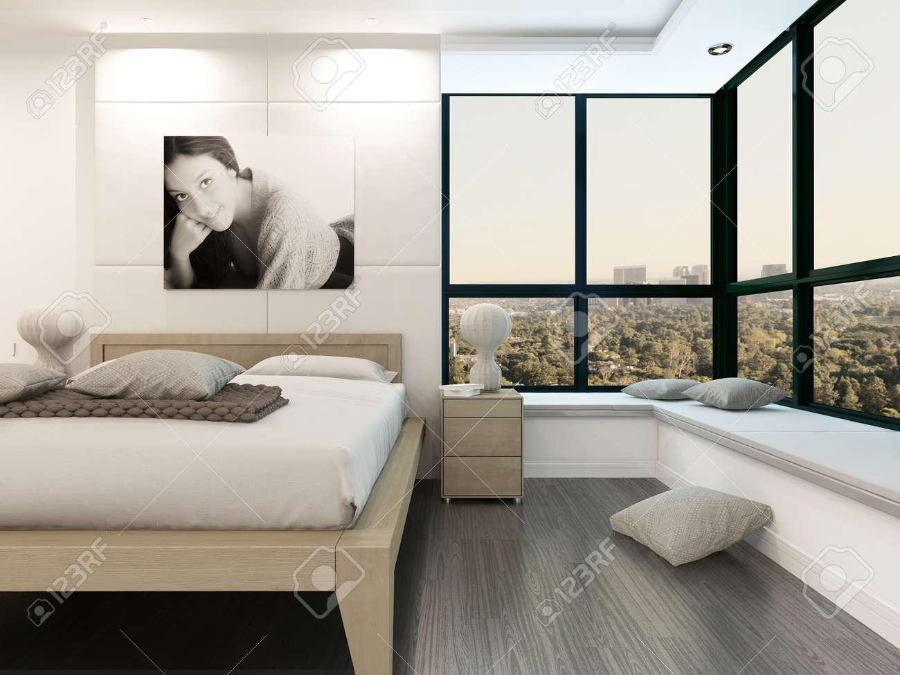 Interior Cómodo Dormitorio Con Cama De Madera Y Retrato De La Chica ...