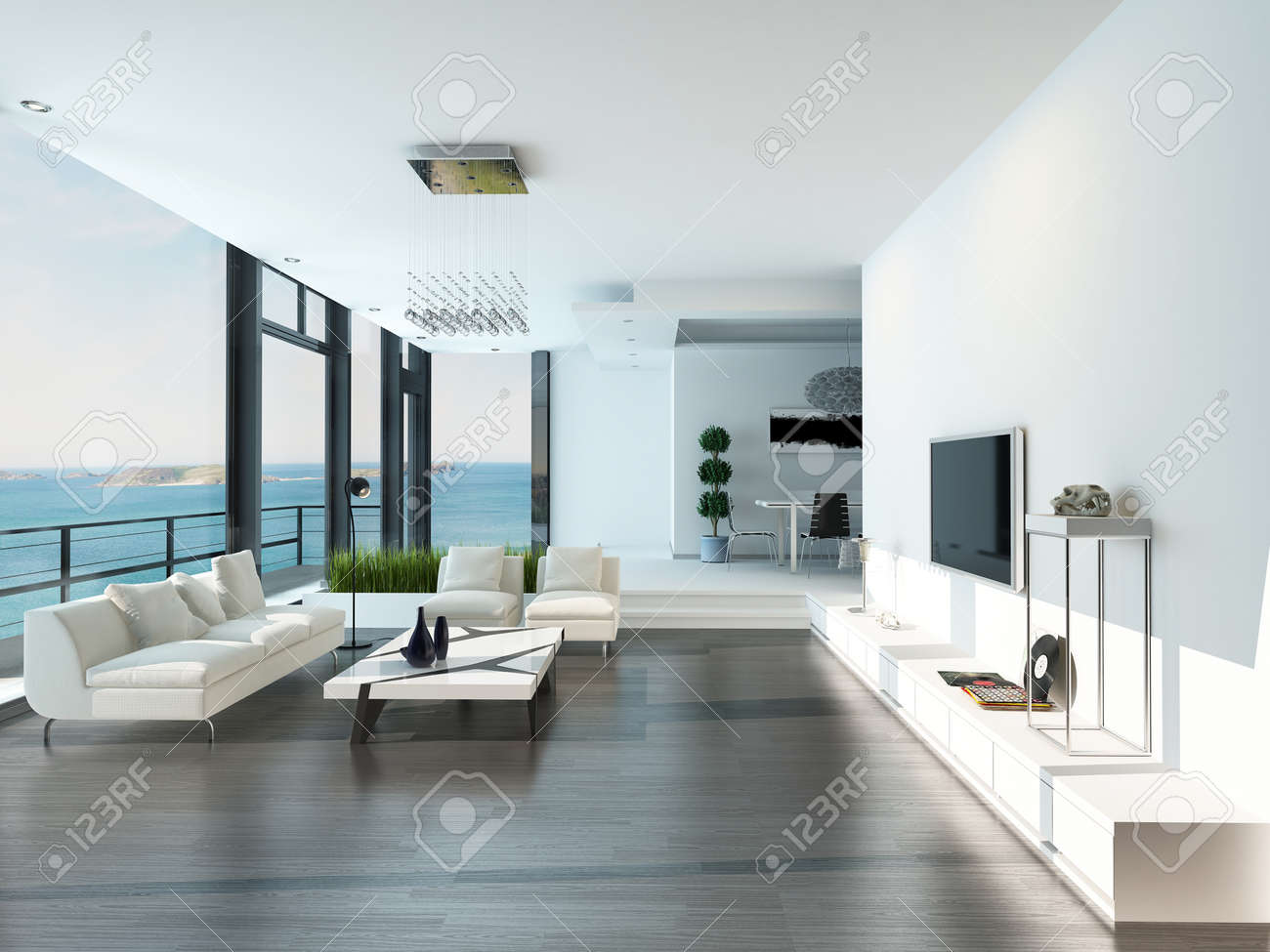 Modern Luxurious Living Room Interior Stock Photo, Picture And ...
