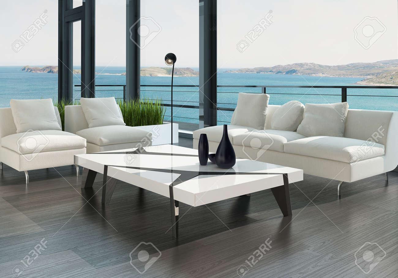 Modern design woonkamer interieur met een witte bank en een ...