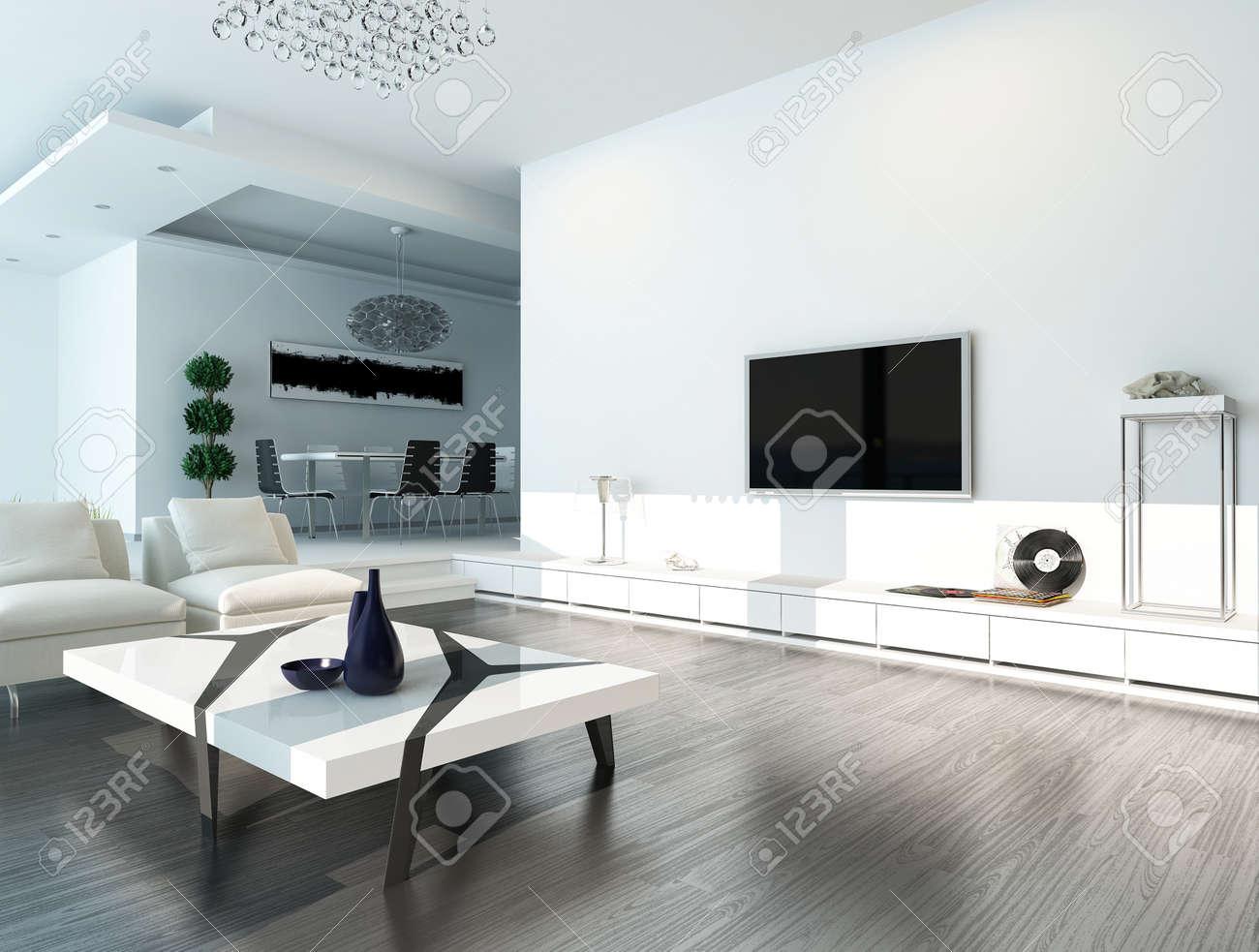 Banque Du0027images   Intérieur Moderne Salon Design Avec Un Canapé Blanc, Une  Table Basse