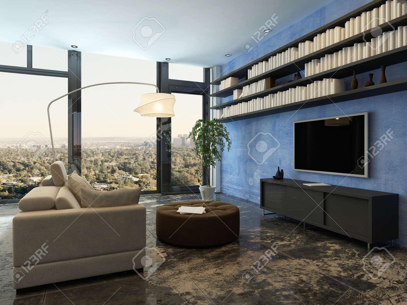 Intérieur Chaleureux Salon Avec Bookshelfs Sur Le Mur Bleu Banque ...