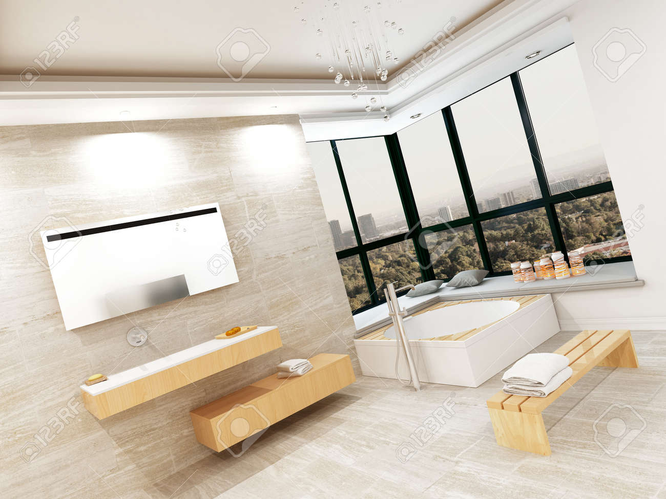 Modern bathroom interior with stone tiles and jacuzzi stock photo