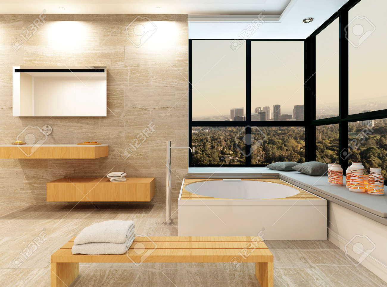 Modernes Badezimmer Innenraum Mit Steinfliesen Und Jacuzzi Lizenzfreie  Bilder   28884975