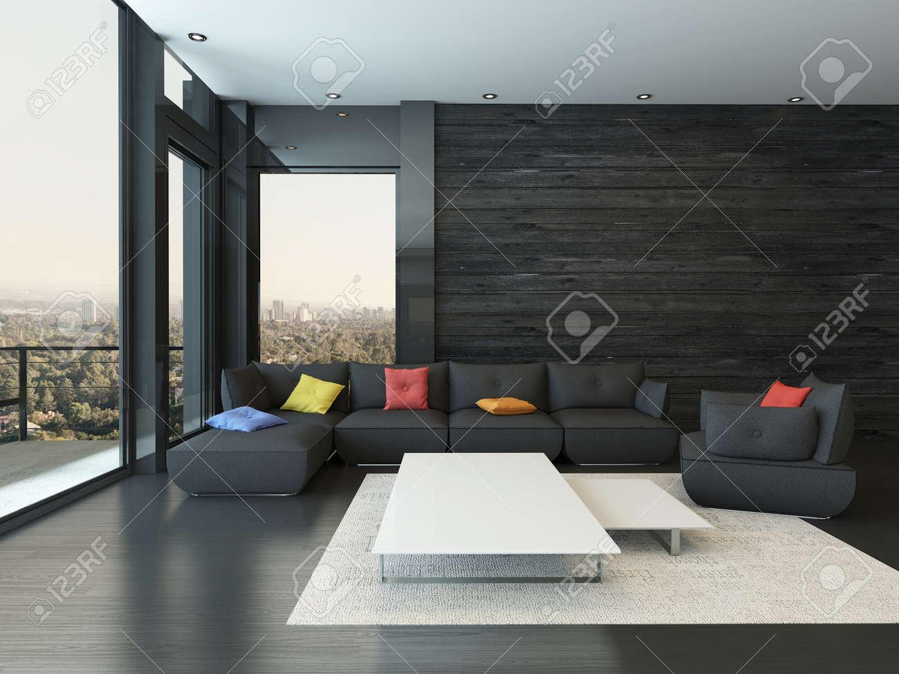 Zwart stijl woonkamer interieur met een bank met kleurrijke ...
