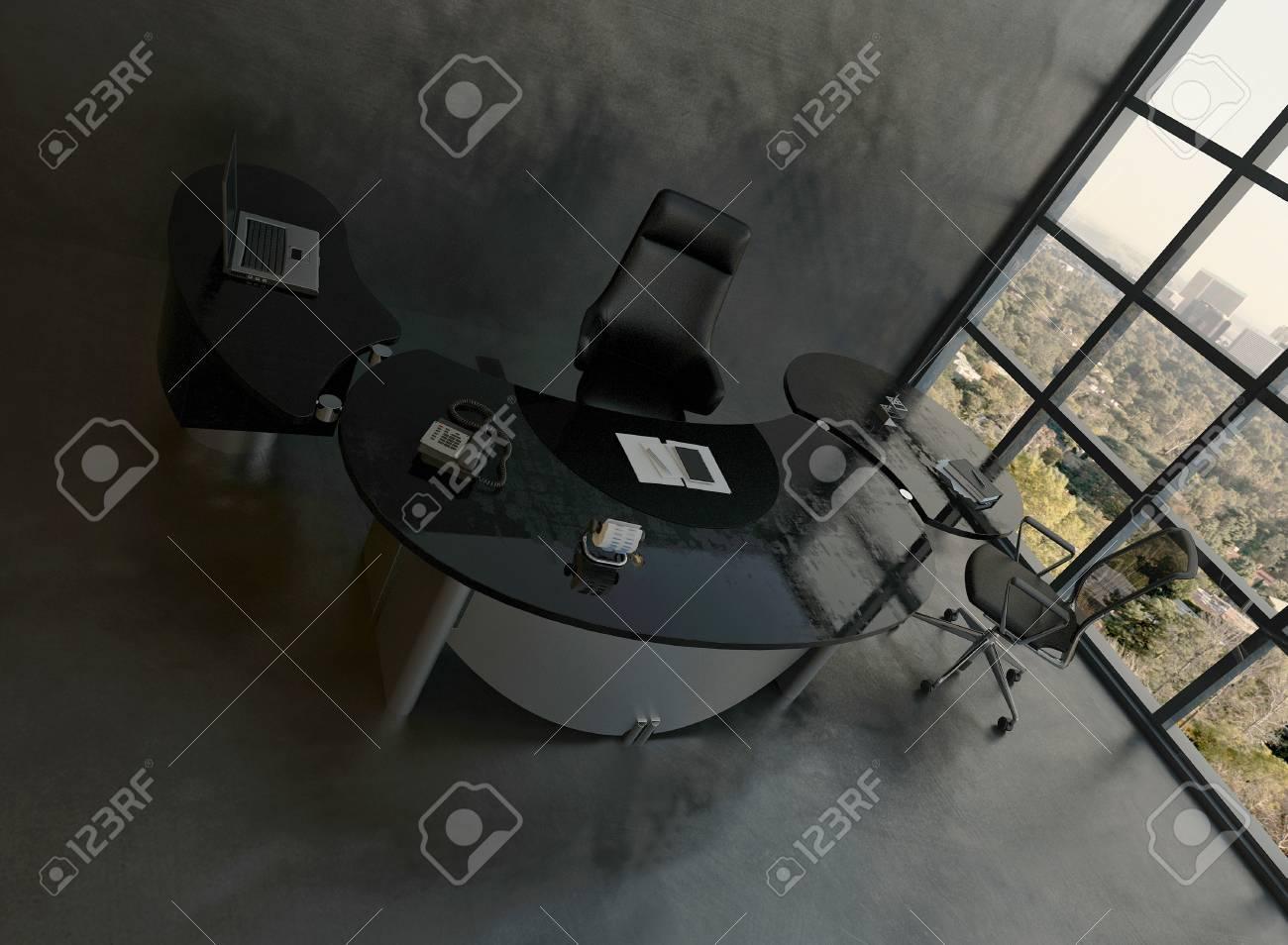 Moderner Buroinnenraum Mit Schwarzer Stuhl Und Schreibtisch Lizenzfreie Fotos Bilder Und Stock Fotografie Image 28885031