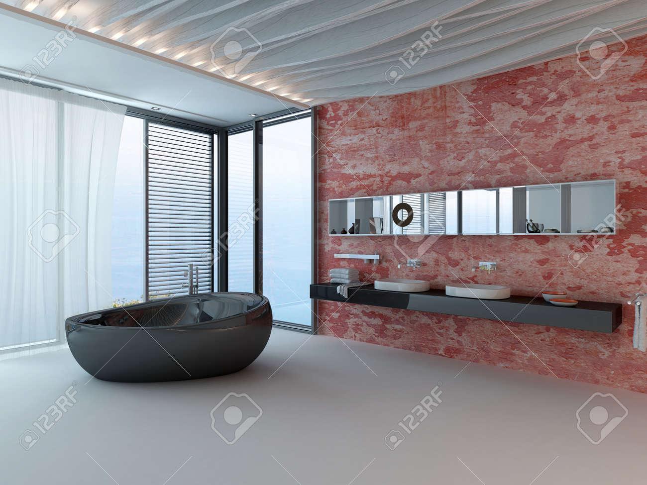 Int Rieur Salle De Bains Avec Mur Rouge Lavabo Et Baignoire En