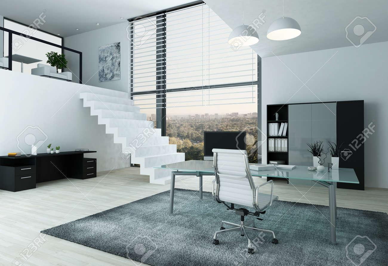Modern Home Office Interior With Desk, hair nd Mezzanine Stock ... - ^