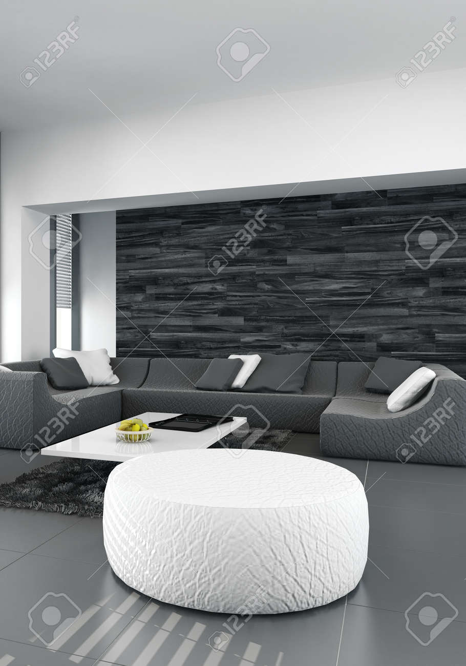 Modernes Design Wohnzimmer Innenraum Mit Schwarzer Ledercouch, Dunkles Holz  Und Weiße Hocker Standard Bild