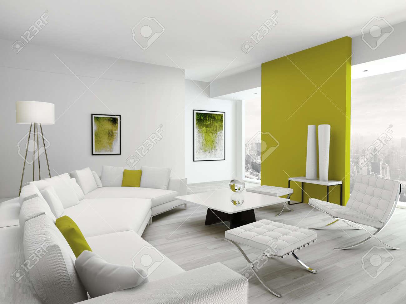 Diseño De Lujo De Estar Blanca Interior Habitación Con Muebles ...