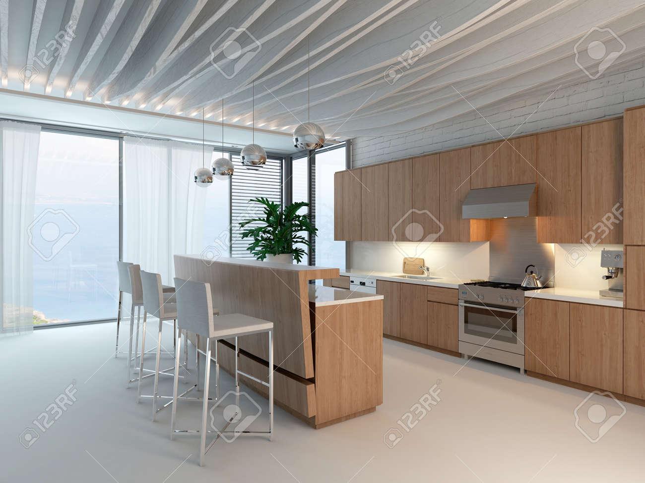 Schöne Küche Interieur Mit Holz Und Hocker Lizenzfreie Fotos, Bilder ...