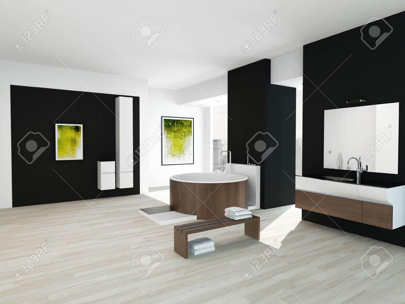 Salle de bains intérieure de style noir et blanc avec baignoire en bois