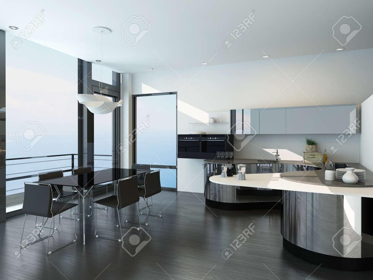 Noir de luxe moderne et l'intérieur de la cuisine de style blanc ...