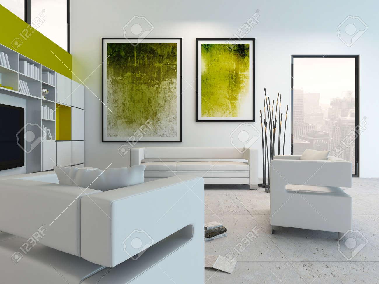 Gemälde Wohnzimmer, modernen wohnzimmer innenraum mit grünen gemälde an der wand, Design ideen