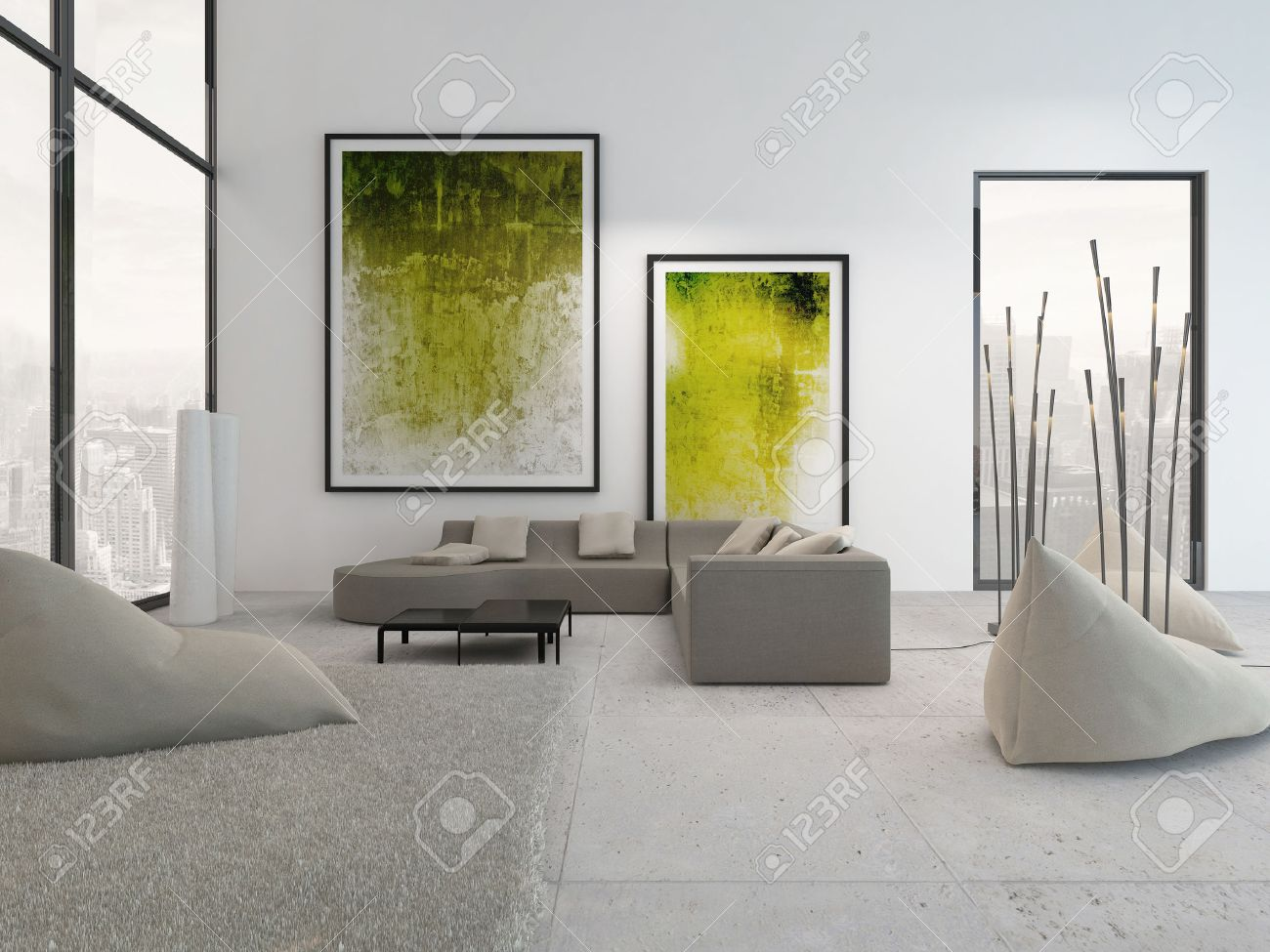 Modern Living Room Interior With Green Paintings On Wall Stock ...