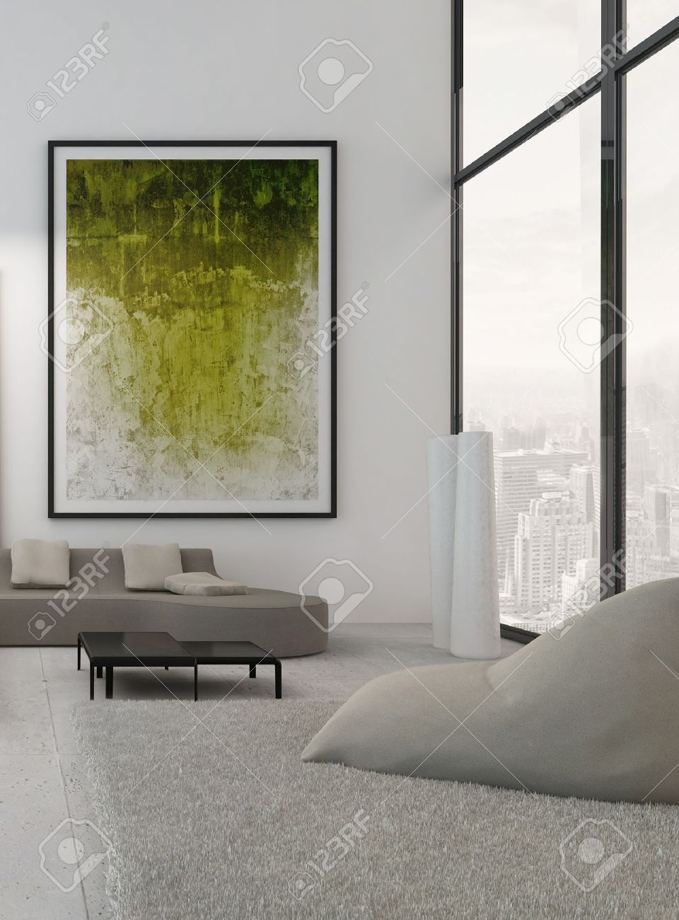 Moderne Wohnzimmer Interieur Mit Grünen Gemälde An Der Wand ...